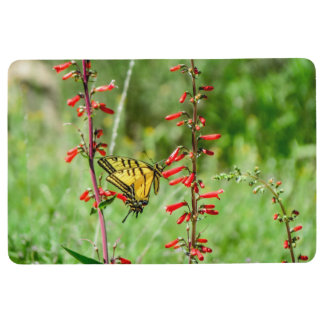 Tiger Swallowtail Butterfly and Wildflowers Floor Mat