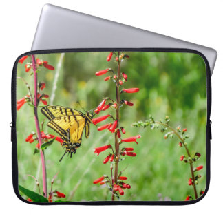 Tiger Swallowtail Butterfly and Wildflowers Laptop Sleeve