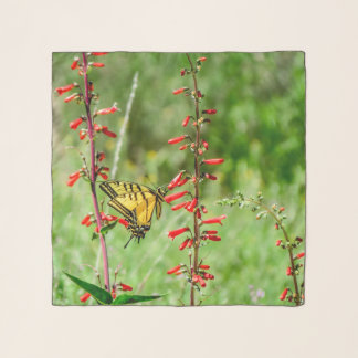 Tiger Swallowtail Butterfly and Wildflowers Scarf