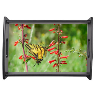 Tiger Swallowtail Butterfly and Wildflowers Serving Tray