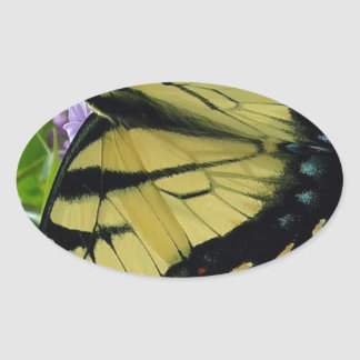 Tiger swallowtail butterfly lilac photo oval sticker