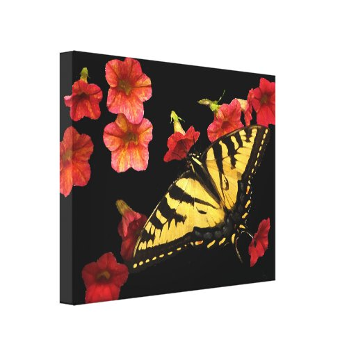 Tiger Swallowtail Butterfly on Red Flowers Canvas Prints