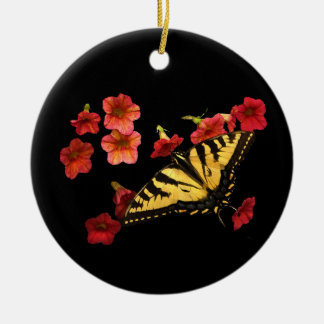 Tiger Swallowtail Butterfly on Red Flowers Ceramic Ornament