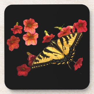 Tiger Swallowtail Butterfly on Red Flowers Drink Coaster