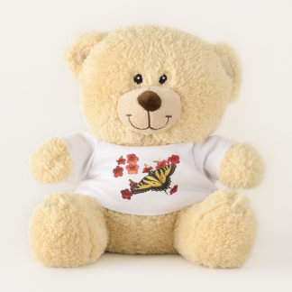 Tiger Swallowtail Butterfly Red Flowers Teddy Bear
