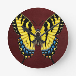 Tiger Swallowtail Butterfly Round Clock