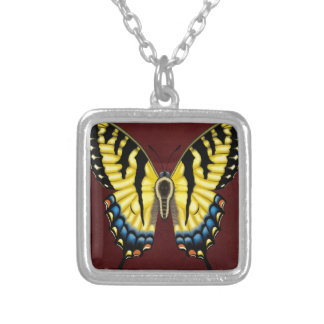 Tiger Swallowtail Butterfly Silver Plated Necklace