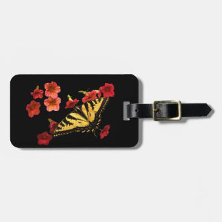 Tiger Swallowtail Butterfly with Red Flowers Luggage Tag