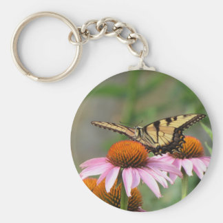 Tiger Swallowtail on Purple Coneflower Key Ring