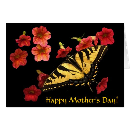 Tiger Swallowtail on Red Flowers Mothers Day Card