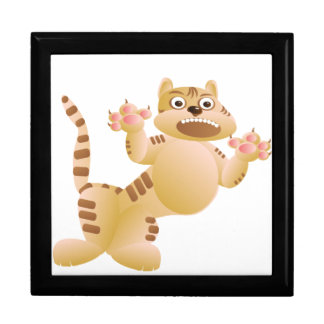 Tiger, the cat growls and threatens paws claws gift box