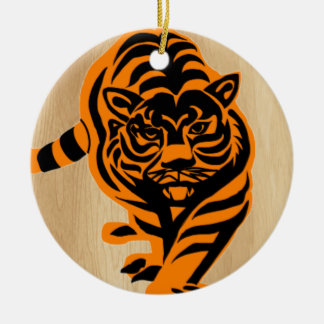TIGER THE KING OF JUNGLE ROUND CERAMIC DECORATION