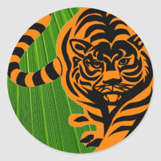 TIGER THE KING OF JUNGLE ROUND STICKER