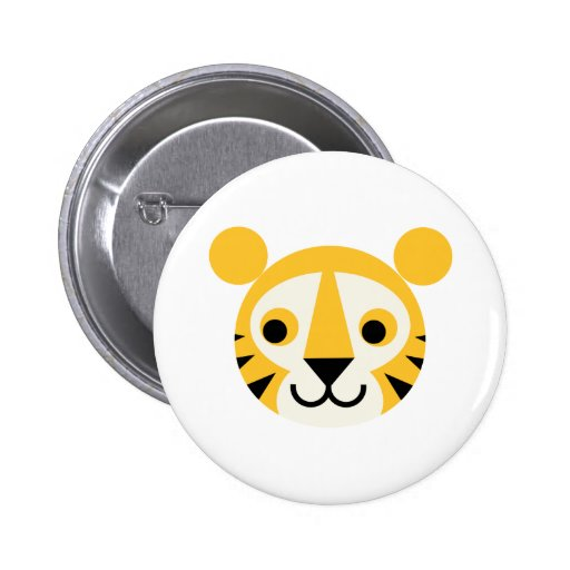 Tiger Tigers Big Cat Cats Cute Head Smile Button
