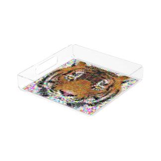Tiger Triangle Mandala Acrylic Tray