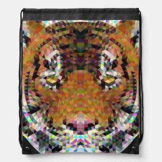 Tiger Triangle Mandala Drawstring Bag
