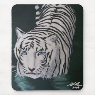 Tiger walking through water mouse pad