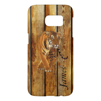 Tiger Walking & Vertical Wood Stripes