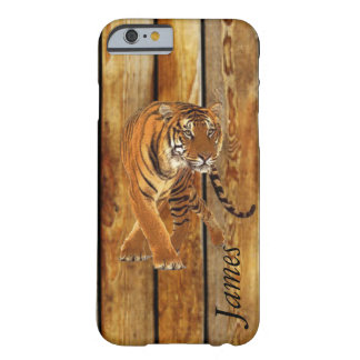 Tiger Walking & Vertical Wood Stripes Barely There iPhone 6 Case