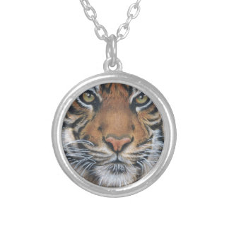 Tiger Wildlife Animal art Silver Plated Necklace