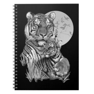Tiger with Cub (B/W) Notebook