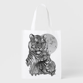 Tiger with Cub (B/W) Reusable Grocery Bag