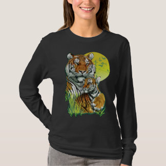 Tiger with Cub Dark Long Sleeve T-Shirt