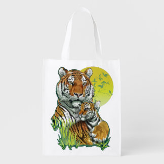 Tiger with Cub Reusable Grocery Bag