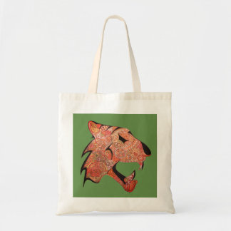 Tiger with patterns Orange and Yellow on Green Tote Bag