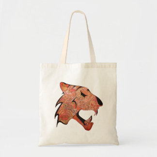 Tiger with patterns Orange and Yellow Tote Bag