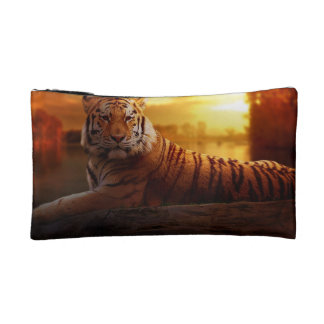 Tiger with Sunset Makeup Bag