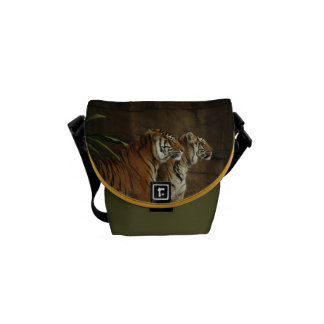 Tigers Cat Animal Stripe Pattern Destiny's Destiny Messenger Bag