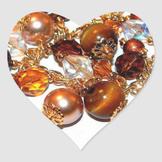 Tiger's Eye Bead Bracelet Heart Sticker