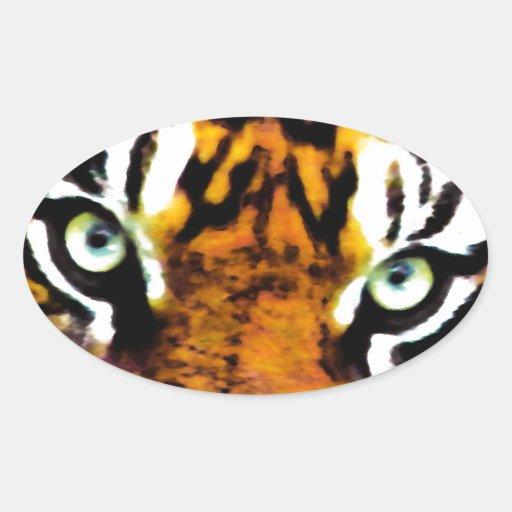 TIGER'S EYE'S_ OVAL STICKER
