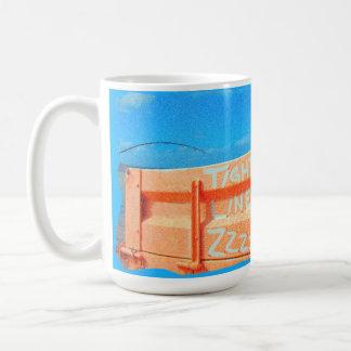 Tight Lines zz blue orange sky fishing rod fishing Basic White Mug