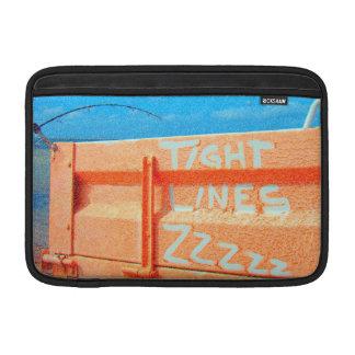 Tight Lines zz blue orange sky fishing rod fishing MacBook Sleeves