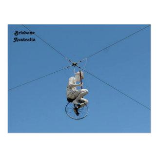 Tightrope Cyclist Sculpture, Brisbane, Australia Postcard