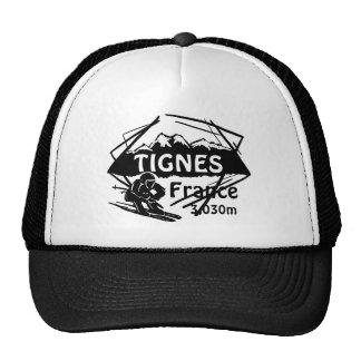 Tignes France black white ski logo art hat