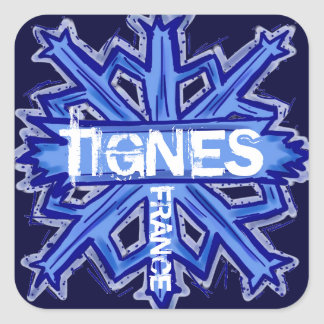 Tignes France blue snowflake stickers
