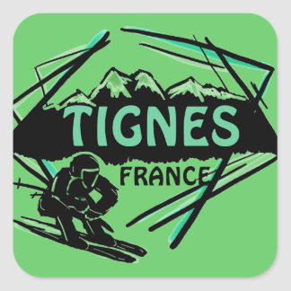 Tignes France green ski logo art stickers