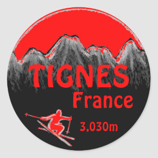 Tignes France red ski logo art stickers