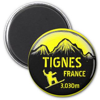 Tignes France yellow snowboard art magnet