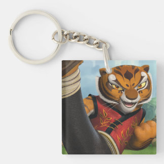 Tigress Kick Double-Sided Square Acrylic Key Ring