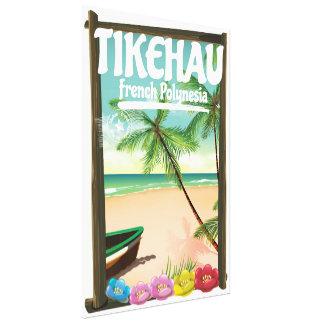 Tikehau French Polynesia travel poster. Canvas Print
