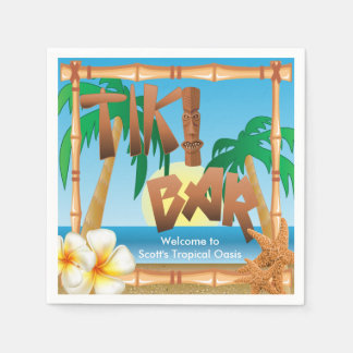 Tiki Bar - A Tropical Oasis Disposable Serviette
