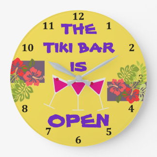 Tiki Bar is Open Tropical Cocktails Custom Color Large Clock