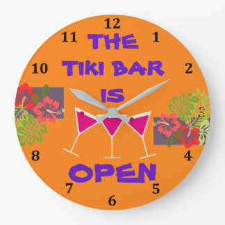 Tiki Bar Tropical Hibiscus Cocktails Custom Color Large Clock
