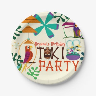 Tiki Birds Birthday Party Vintage Luau Plates