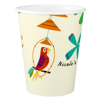 Tiki Birds Birthday Party Vintage Retro Luau Paper Cup