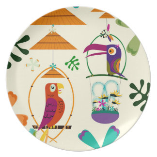Tiki Birds Modern Vintage Retro Kitchen Custom Plate